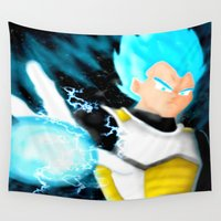 vegeta Wall Tapestries featuring SSGSS Vegeta by AmaterasuVG