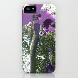 Giant Iris Stalks, purple green white, modified iPhone Case