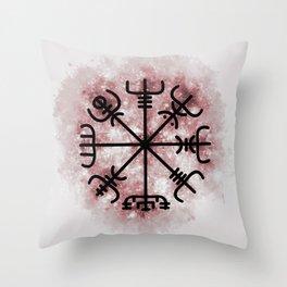 VEGVISIR Nordic sign post compass wayfinder Red Throw Pillow