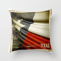 Grunge sticker of Texas (USA) flag Throw Pillow