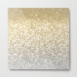 Gold and Silver Glitter Ombre Metal Print