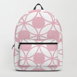 Geometric Orbital Spot Circles In Pastel Pink & White Backpack