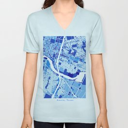 Austin Texas City Map Blue Unisex V-Neck