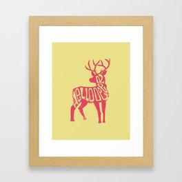Hello Deer - Yellow Deer Framed Art Print