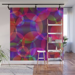 Abstract soap made from cosmic transparent purple circles and purple bubbles on a dark background. Wall Mural
