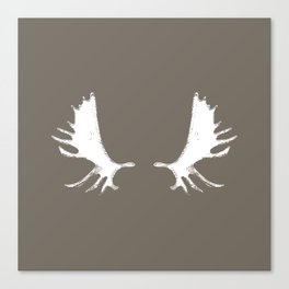 Moose Antlers Silhouettes in Driftwood Brown Canvas Print