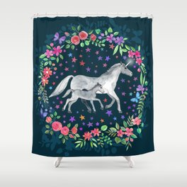 Mama and Baby Unicorn Shower Curtain