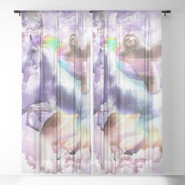 Epic Space Sloth Riding On Unicorn Sheer Curtain