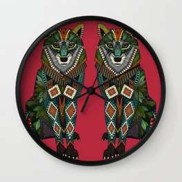 wolf red Wall Clock