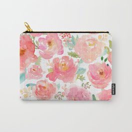 Pink Peonies Watercolor Pattern Carry-All Pouch