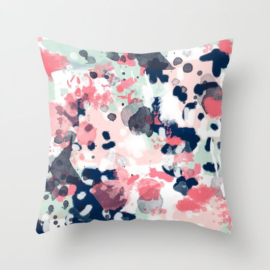 Lola - Painted abstract trendy color palette minimal decor nursery home Throw Pillow by ...