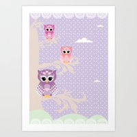 Owl Tree - Purple Art Print