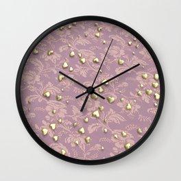 VALENTINE HEARTS - Gold Hearts & Royal Rose Tapestry Wall Clock
