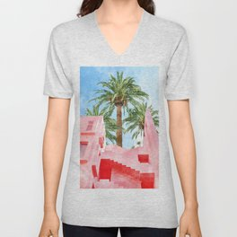 Pink Tropical #painting #tropical Unisex V-Neck