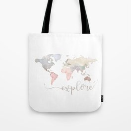 Pastel World Map Tote Bag