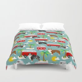 Australian Shepherd dog breed tropical summer dog lover gifts Duvet Cover