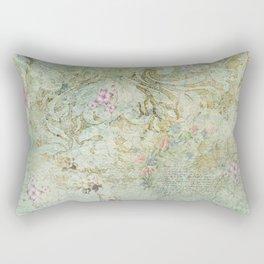 Vintage French Floral Wallpaper Rectangular Pillow