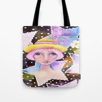 sassy Tote Bags featuring Sassy Girl by Judy Skowron