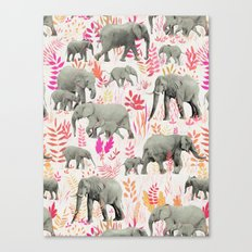 Sweet Elephants in Pink, Orange and Cream Canvas Print