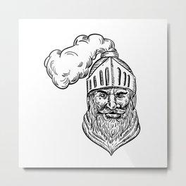 Old Knight Head Drawing Metal Print
