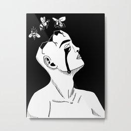 Bee-Head Metal Print