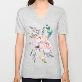 Forest Floral Pink by Nature Magick Unisex V-Neck