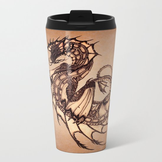 """Tsunami"" by Amber Marine ~ Sea Dragon (Amber Gem Version) ~ Graphite/Charcoal Illustration (c) 2005 Metal Travel Mug"