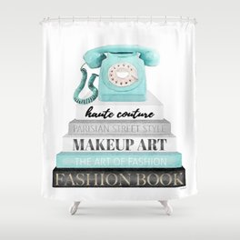 Vintage, Phone, Books, Fashion books, Teal, Fashion, Fashion art, fashion poster Shower Curtain