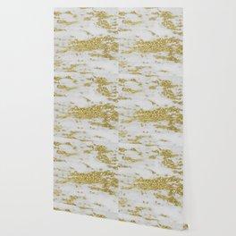 Marble - Glittery Gold Marble on White Design Wallpaper