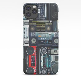 Vintage wall full of radio boombox of the 80s iPhone Case