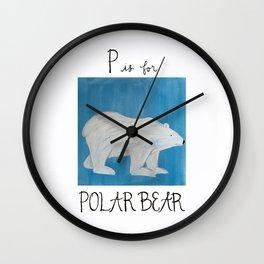 P is for Polar Bear Wall Clock