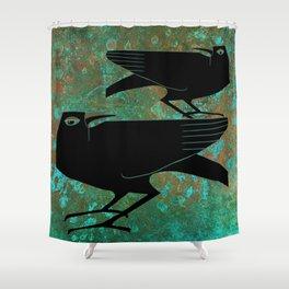 Odin's Ravens Huginn and Muninn Shower Curtain