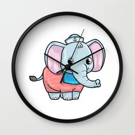 Elephant as Sailor with Sailor hat Wall Clock