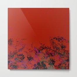 Red Grunge Floral Metal Print