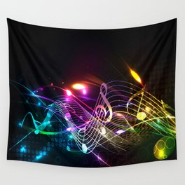 Music Notes in Color Wall Tapestry
