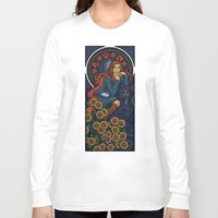 nouveau Long Sleeve T-shirts featuring Pond Nouveau by Karen Hallion Illustrations