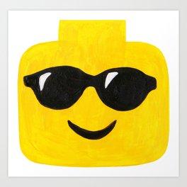 Sunglasses - Emoji Minifigure Painting Art Print