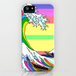 The Great Wave off Kanagawa (Colorful) iPhone Case