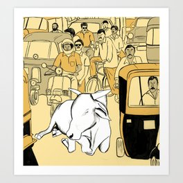 Cow in the Streets Art Print