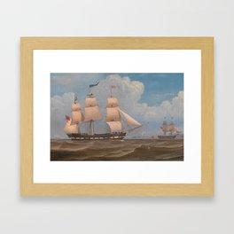 The English Merchant Ship Malabar - William Clark  Framed Art Print