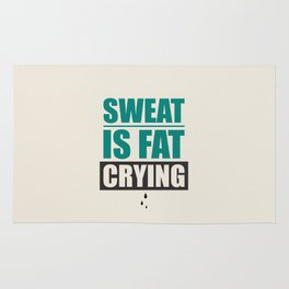 Lab No. 4 - Sweat Is Fat Crying Gym Motivational Quotes Poster Rug