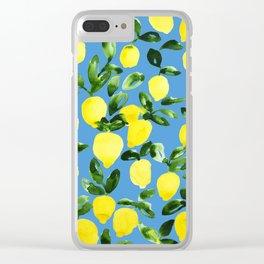 Blue Lemons Clear iPhone Case