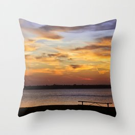 Sitting on the Bench by the Lake Throw Pillow