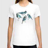 yetiland T-shirts featuring pale green birds by Polkip