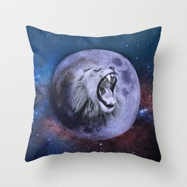 Lion In The Moon Throw Pillow