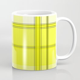 Yellow White and Gray Plaid Coffee Mug