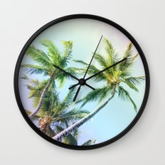 Relaxing Rainbow Color Palms Wall Clock