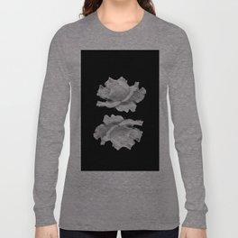 White Rose On Black Long Sleeve T-shirt