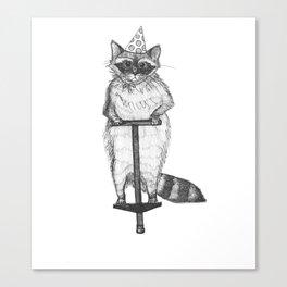 party raccoon on a pogo stick Canvas Print