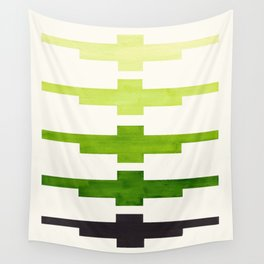 Ancient Aztec Inca Geometric Pattern Watercolor Sap Green Colorful Gouache Painting Wall Tapestry
